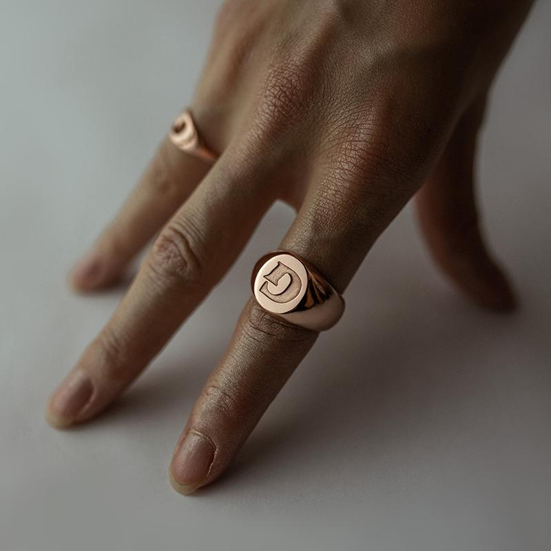 Personalized Custom Signet Ring - Modern