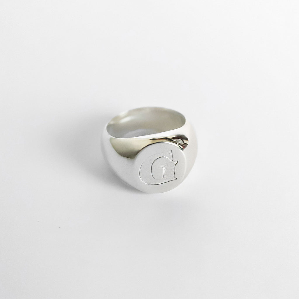 Personalized Custom Signet Ring - Modern 925 Silver Plated