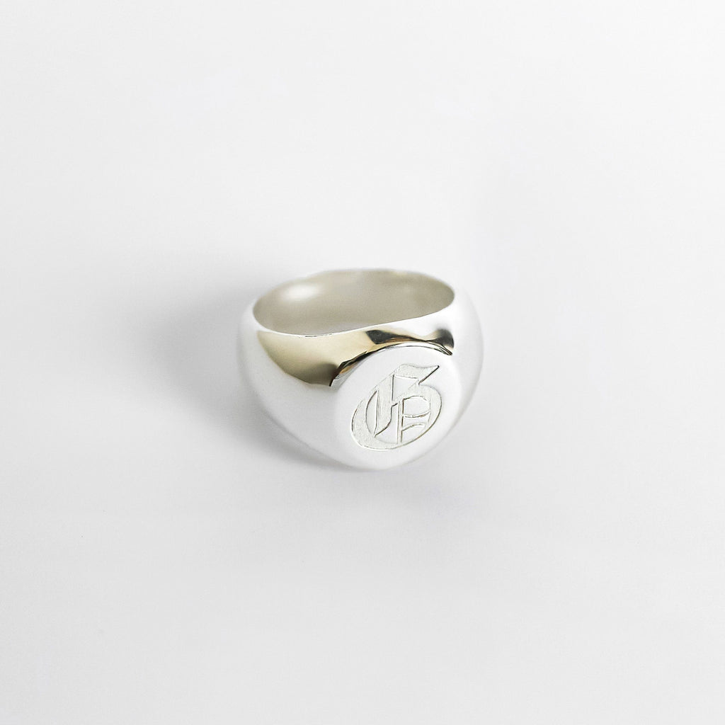 Personalized Custom Signet Ring - Symbol 925 Silver Plated