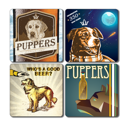 Vintage Puppers Coaster Set