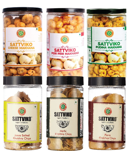 Sattviko Makhane and Khakhra Chips Jar Combo - All Flavors