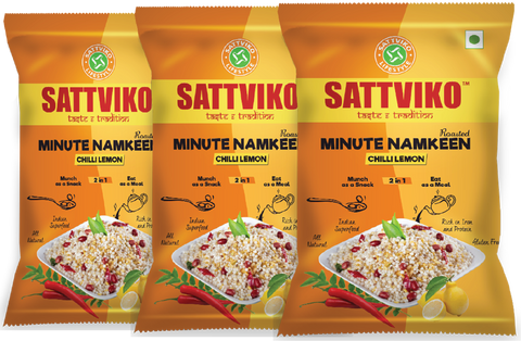 Sattviko Minute Namkeen (Sabudana Meal) Chilli Lemon Family Pack Combo - 3 Pouches of 200 g each