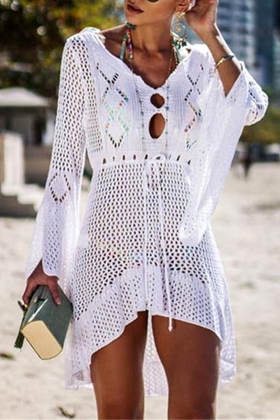 FSY Flared Sleeves Crochet Swimwear Cover-ups