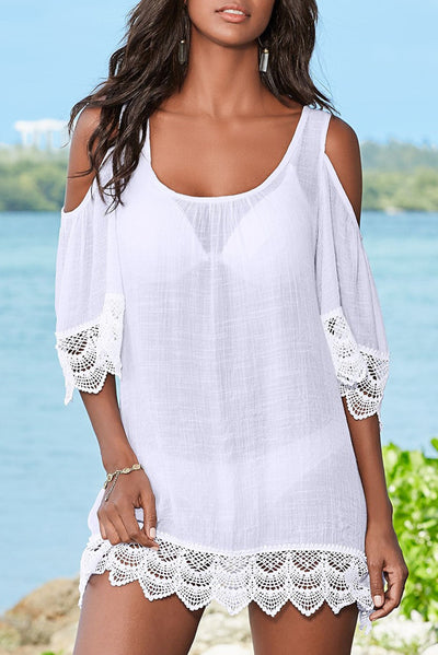 FSY Lace Off-the-shoulder Bikini Beach Blouse