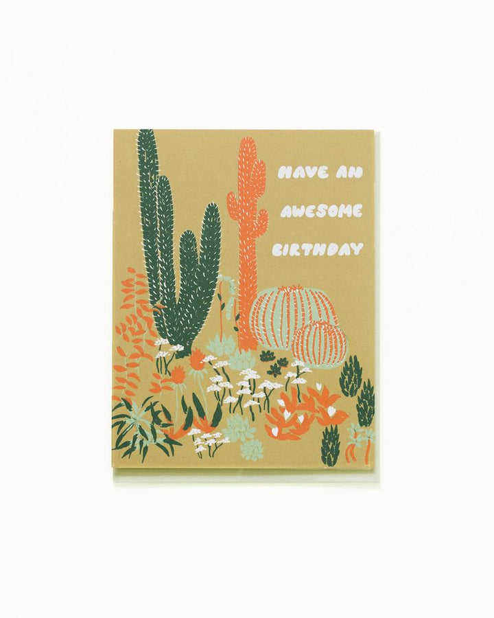 Cacti Vignette Awesome Birthday Card