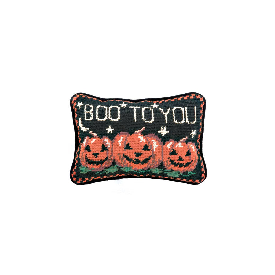 Boo To You Pumpkins Needlepoint Pillow