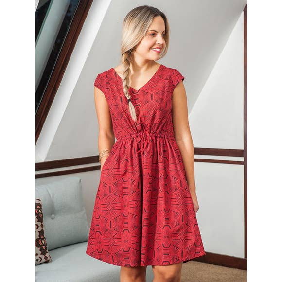 Nashville Dress in Red Geo