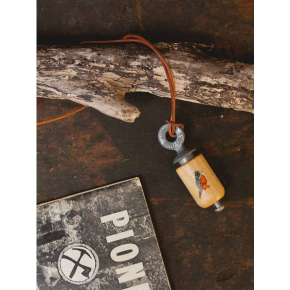 Hand Painted Bird Call Necklace in Natural Wood