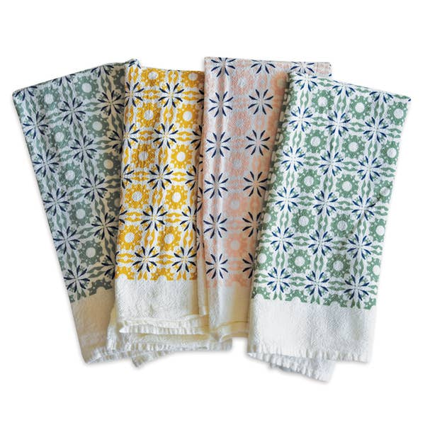 Mixed Woodblock Chicory Napkins, Set of 4