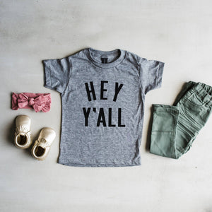 Gray Hey Y'All Kids Tee