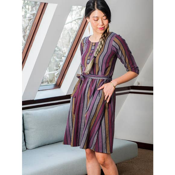 Taos Reversible Dress in Multi Stripe