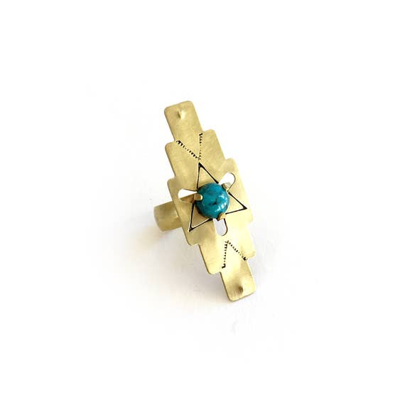 Compass Ring in Turquoise