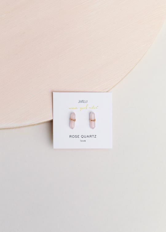 Rose Quartz Mineral Point Earrings