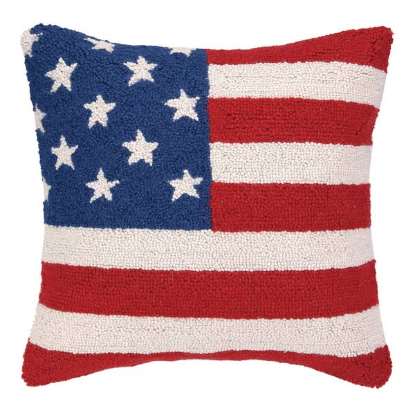 American Flag Red White and Blue Hook Pillow