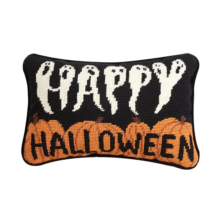Happy Halloween Needlepoint Pillow