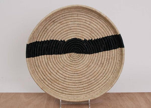 Striped Black + Natural Raffia Tray IV