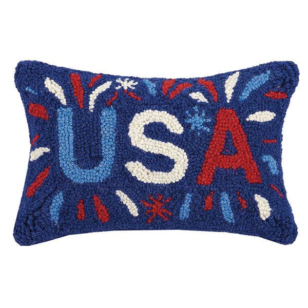 Usa Hook Pillow in Blue