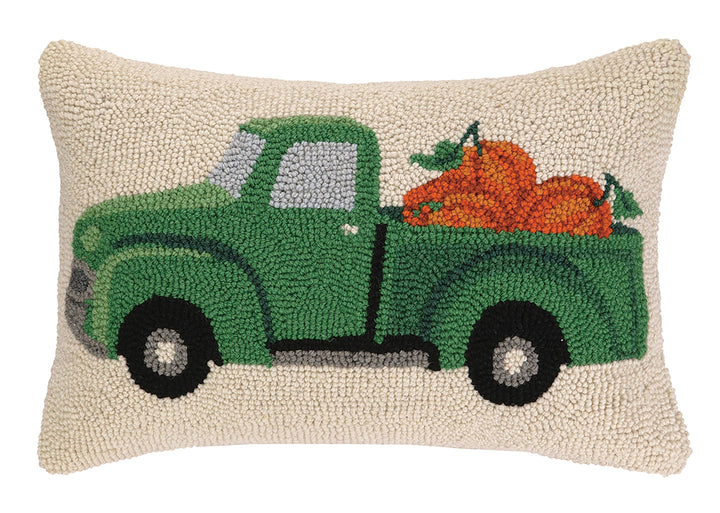 Fall Truck With Pumpkin Hook Large Pillow