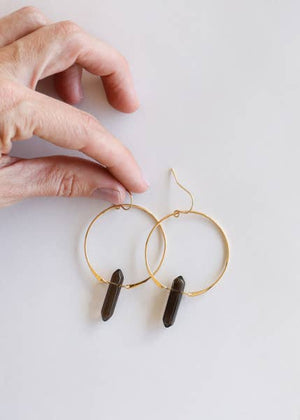 Smoky Quartz Hoop Earrings
