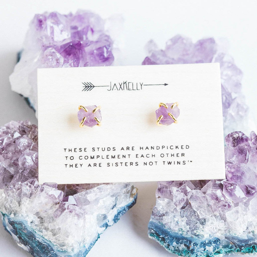 Amethyst Gemstone Prong Earrings