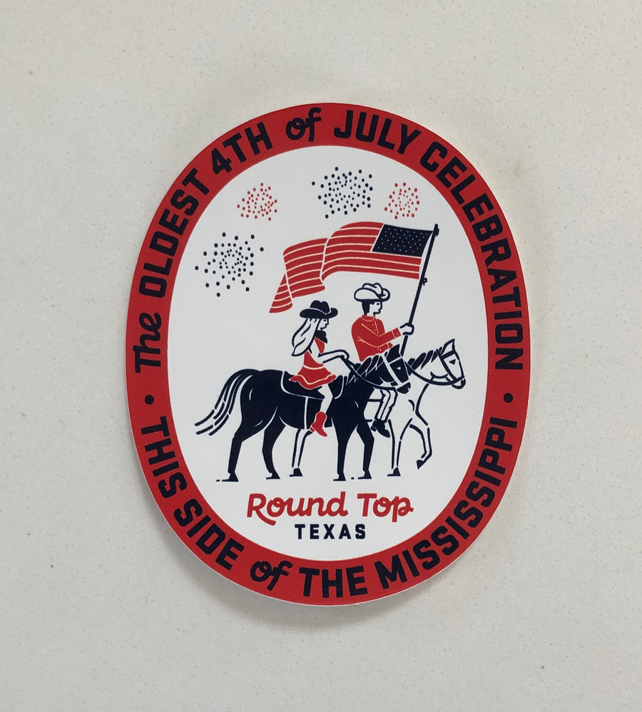 Round Top 4th of July Celebration Sticker