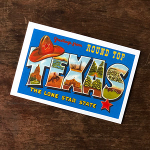 Greetings from Round Top - The Lone Star State Postcard