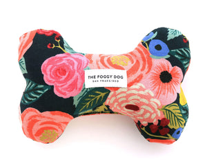 Painted Peonies Midnight Dog Bone Squeaky Toy