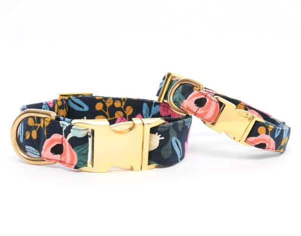 Rosa Floral Navy Dog Collar