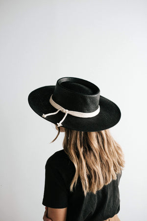 Bre Black - Stiff Straw Pork Pie Hat