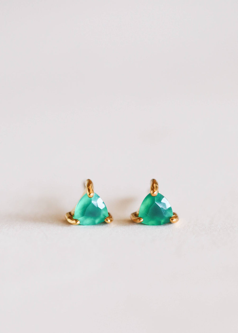 Green Onxy Mini Energy Gem Earrings