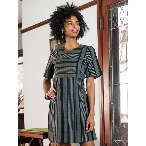 Ritu Dress in Grey Stripe