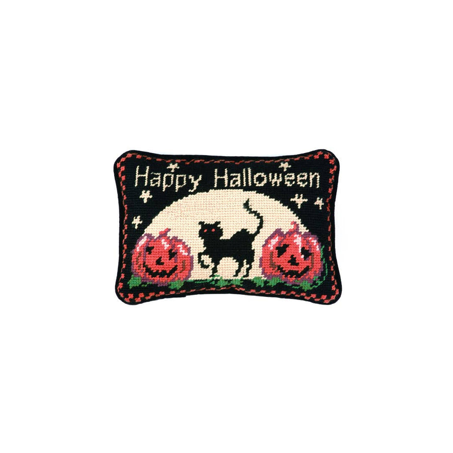 Happy Halloween Cat Needlepoint Pillow