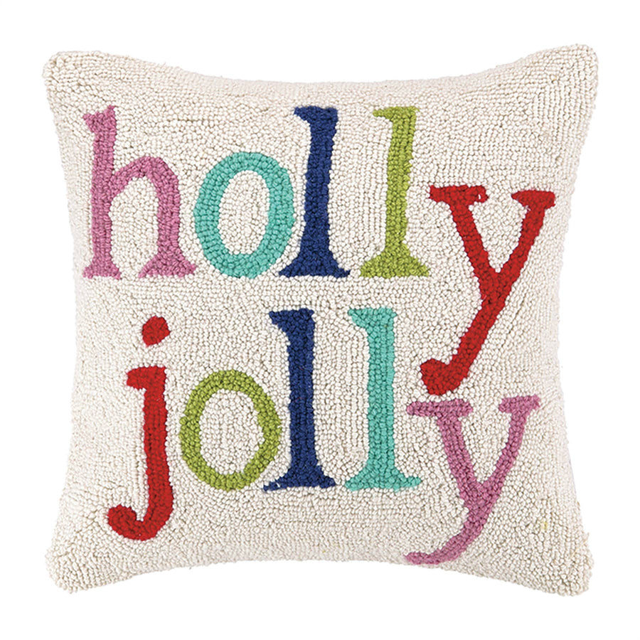 Holly Jolly Multi Color Xmas Hook Pillow