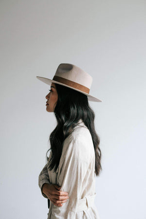 Miller Ivory Pinched Crown Fedora with Flat Brim
