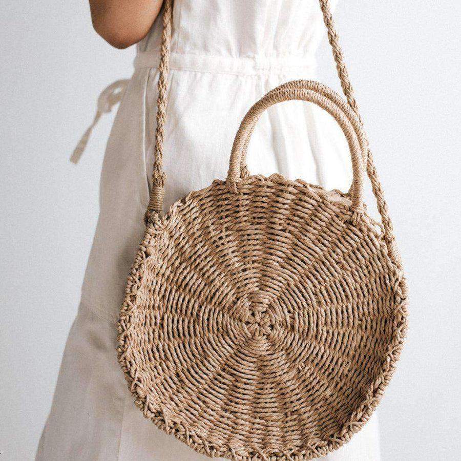 Straw Circle Crossbody Bag