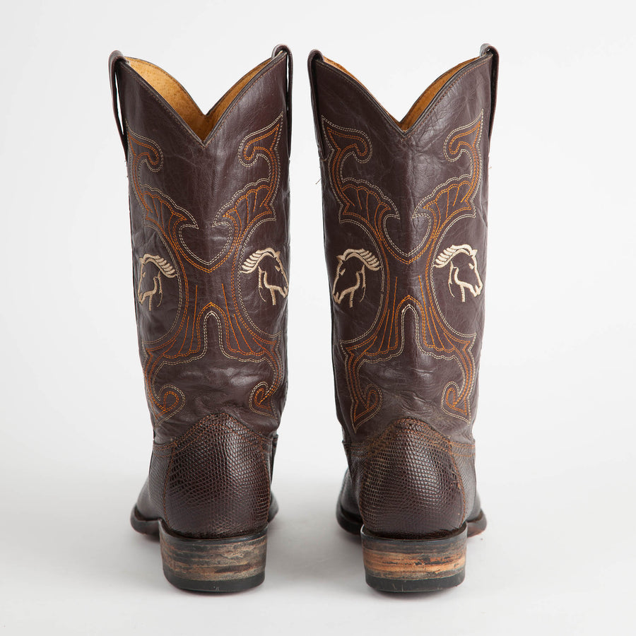 Vintage Dark Brown Lizard Cowboy Boots