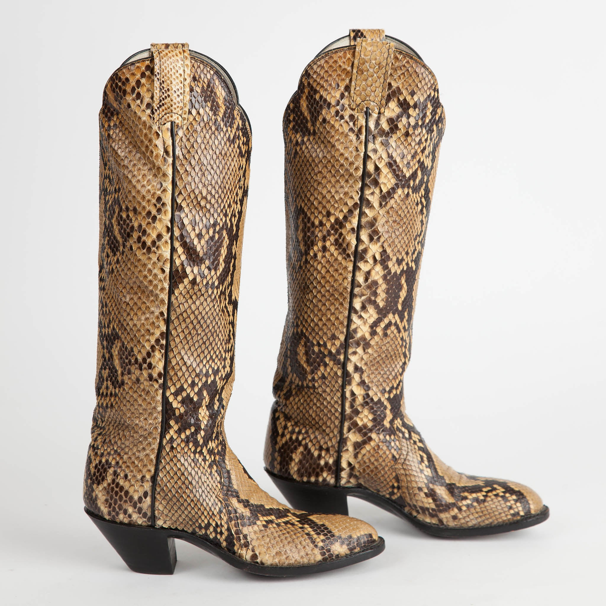 2ccb67413fd Vintage Larry Mahan Full Python Snakeskin Cowboy Boots