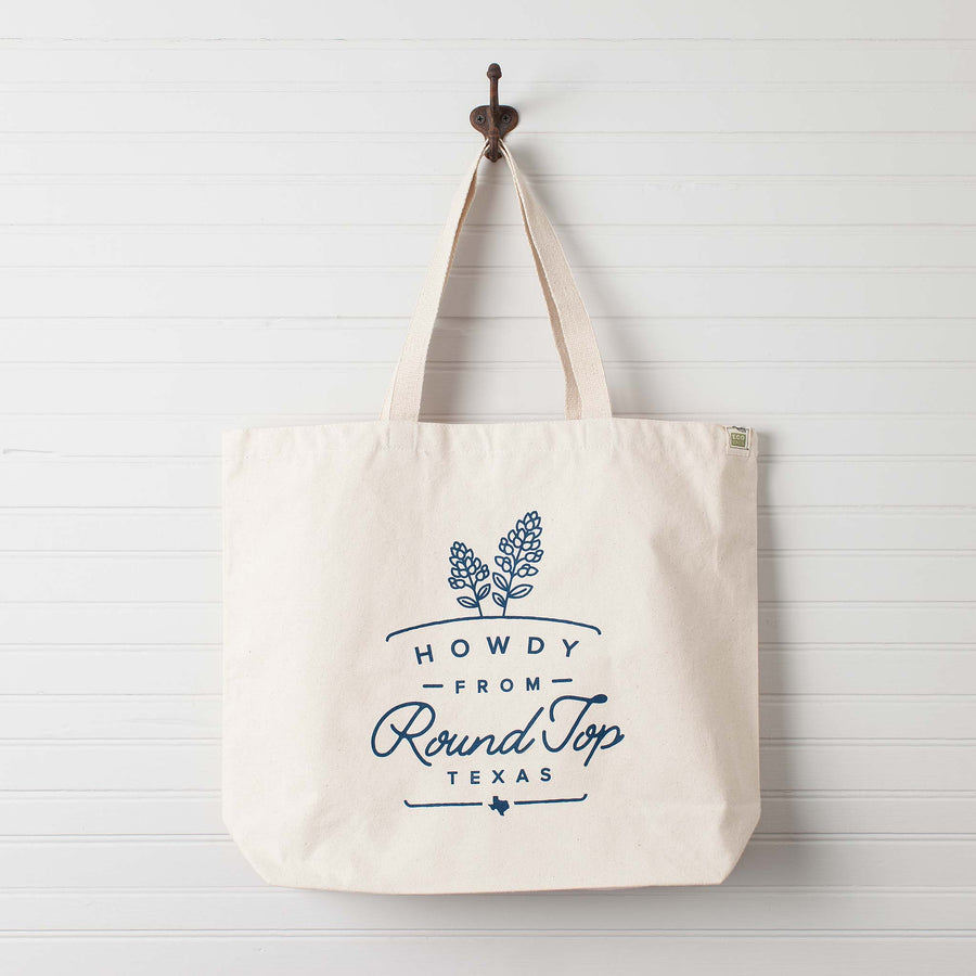 """Howdy from Round Top Texas"" Bluebonnet Tote Bag"
