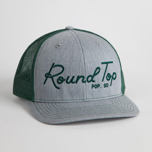 "Heather Gray and Green ""Round Top Pop 90"" Mesh Back Hat"