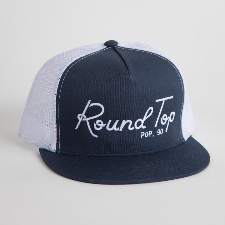 Round Top Pop. 90 Blue and White Mesh Back Hat