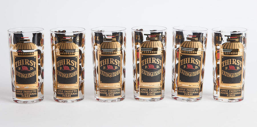 Vintage Mid-Century Georges Briard Thirst Extinguisher Glasses - Set of 6