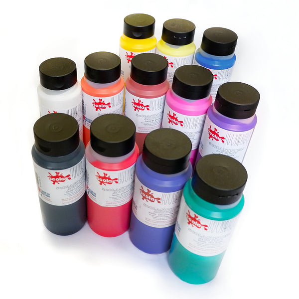 1 bottle of Scolasystem Acrylic Paint - (large 500ml bottles) - Available in 12 vibrant colours