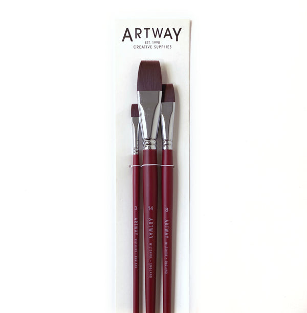 3 long handled paint brushes by Artway