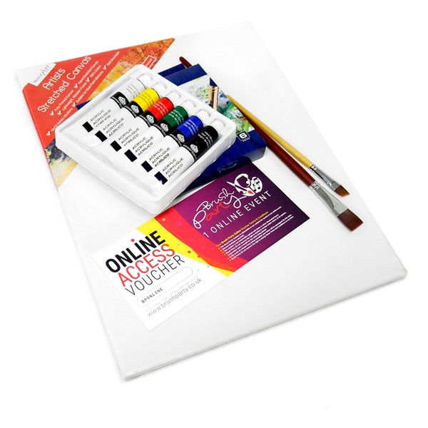 Brush Party ONLINE Event Voucher with basic acrylic painting kit for one