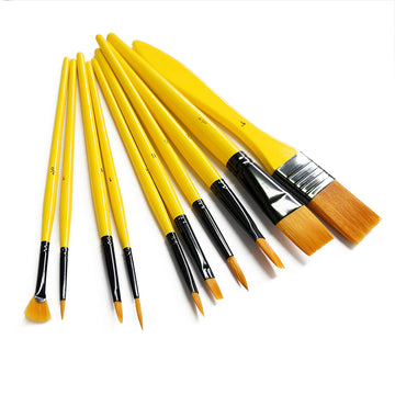 10 Piece Paintbrush Set - Gold Nylon Bristles