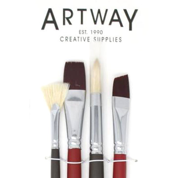 Long Handle Mixed Paintbrush Set - 4 Brushes