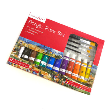 17 Piece Acrylic Paint Set with Palette and Brushes