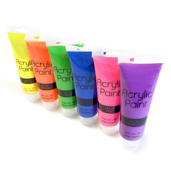 1 tube of Acrylic Neon Paint - Available in 6 vibrant neon colours - 120ml