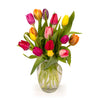 15 Rainbow Tulips with Vase