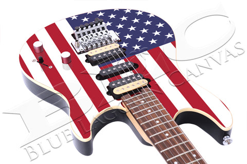 Old Glory Guitar Canvas Print